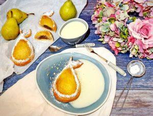 Rezept Gefüllte Birne im Mandelkleid mit Vanillesauce lowcarb glutenfrei