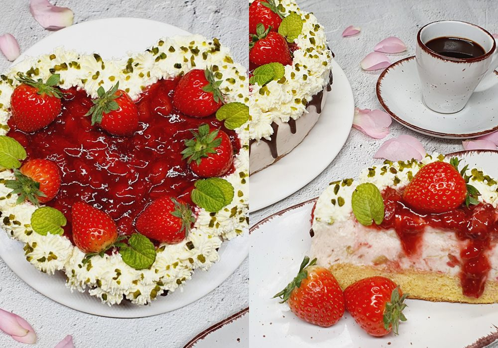 Rezept Joghurt Rhababer Erdbeer Torte lowcarb keto glutenfrei