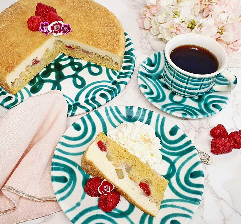 Rezept Himbeer Rhabarber Pudding Kuchen lowcarb glutenfrei keto