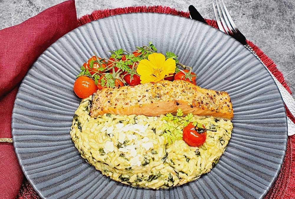 Rezept Spinatrisotto mit Lachs lowcarb keto glutenfrei