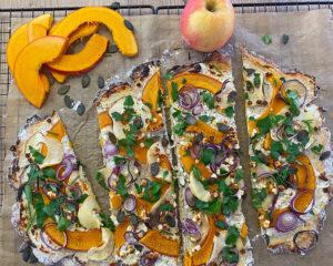 Rezept Kürbis Apfel Flammkuchen lowcarb keto glutenfrei